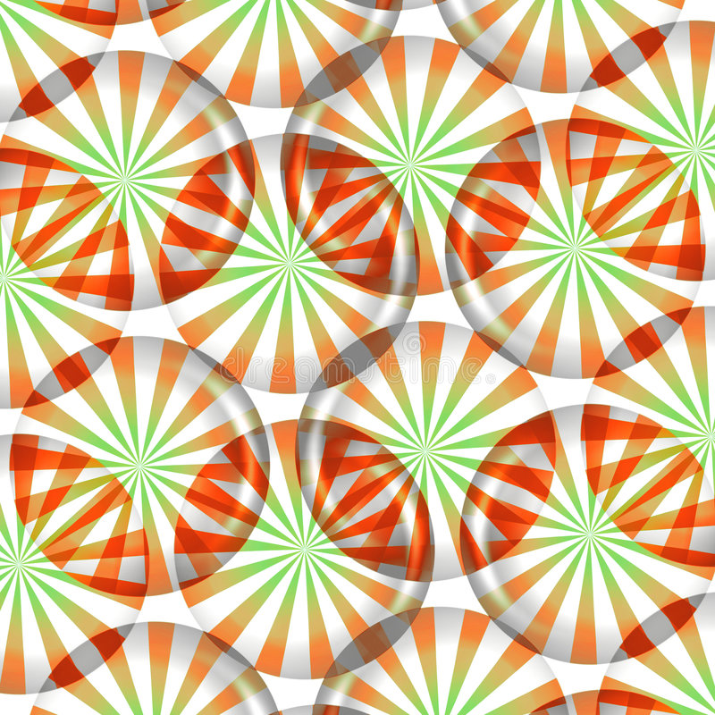 Peppermint Candy Background. Pattern of red, green and white striped round peppermint candy wallpaper background on white background royalty free illustration