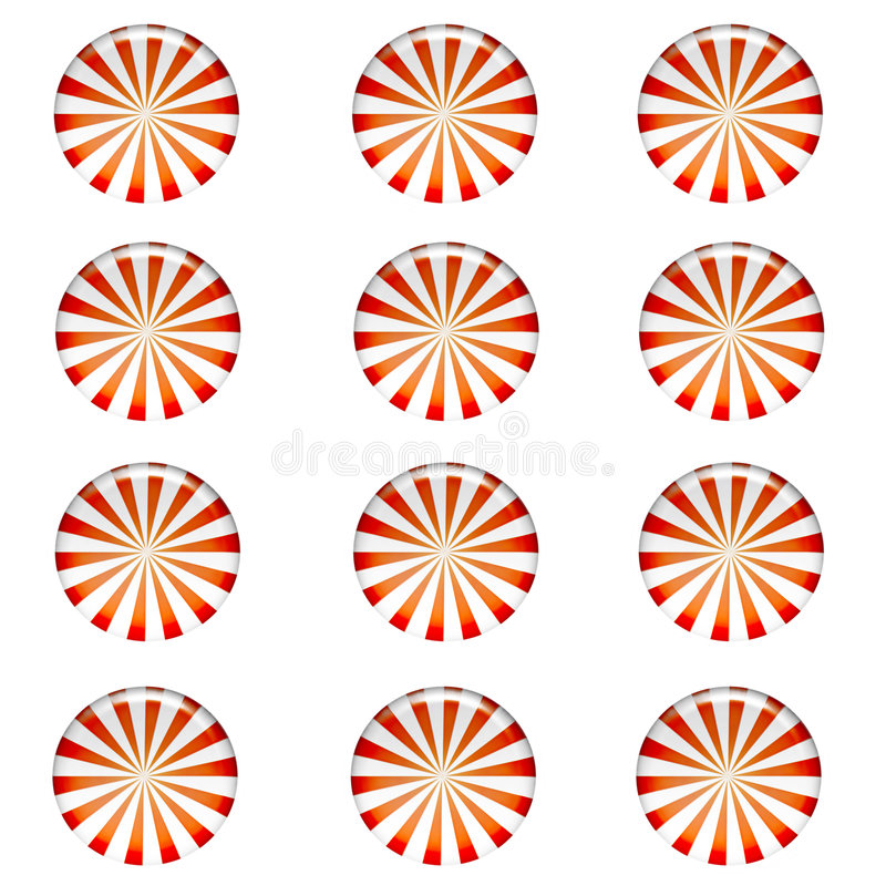 Peppermint Candy Background. Pattern of red and white striped round peppermint candy wallpaper background isolated on white background vector illustration