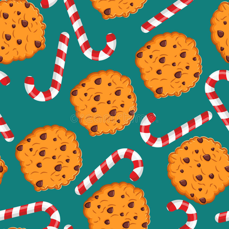 Peppermint Christmas candy and cookies pattern. Sweet festive ba stock illustration