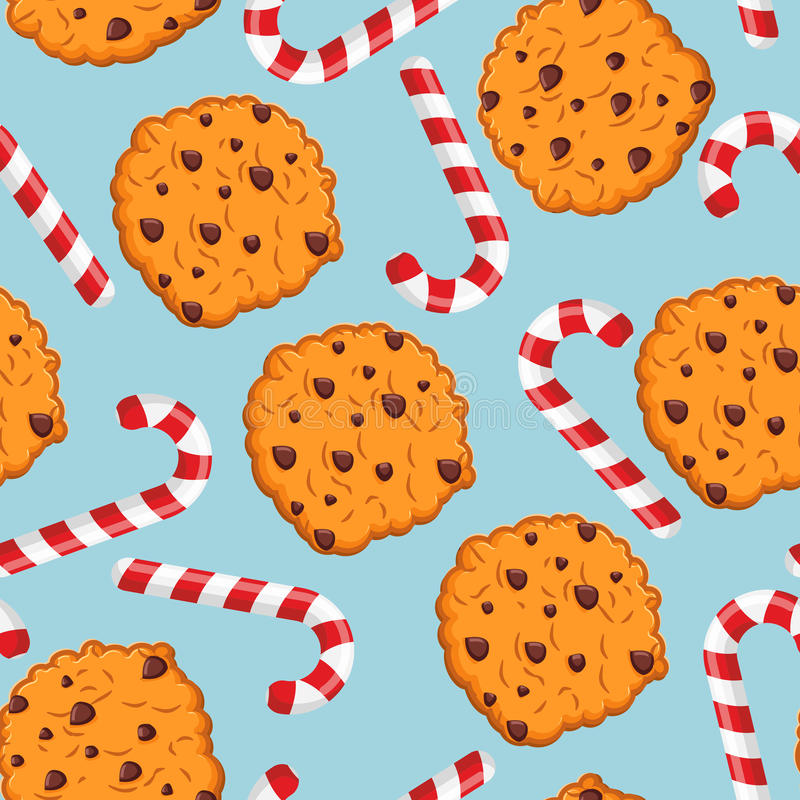 Peppermint Christmas candy and cookies pattern. Sweet festive ba vector illustration
