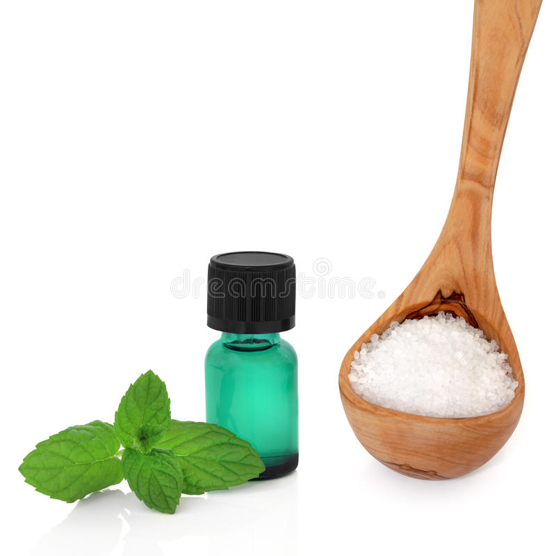 Download Peppermint Essence And Sea Salt Royalty Free Stock Image - Image: 10990216