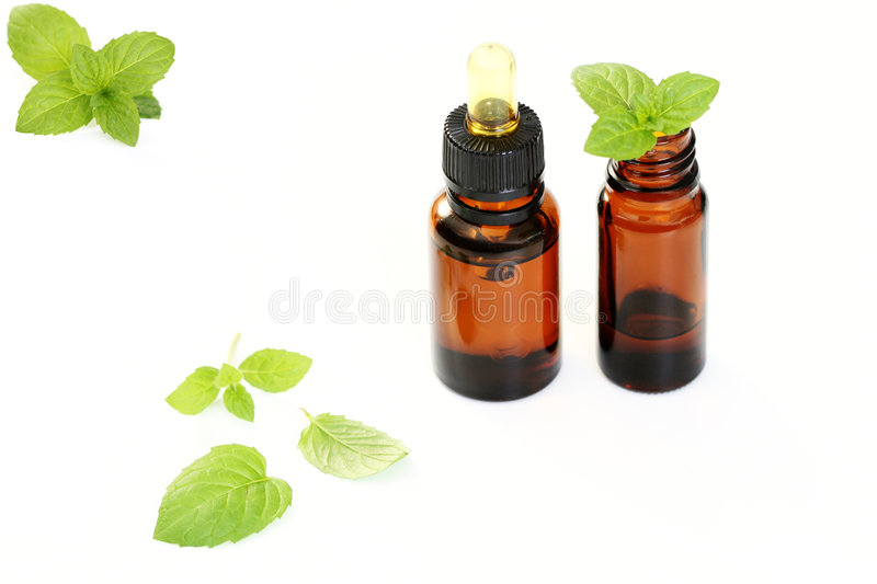 Peppermint oil stock photo