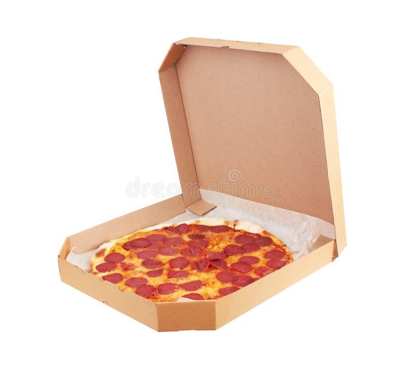 Pepperoni πίτσα στο κιβώτιο στοκ φωτογραφία με δικαίωμα ελεύθερης χρήσης