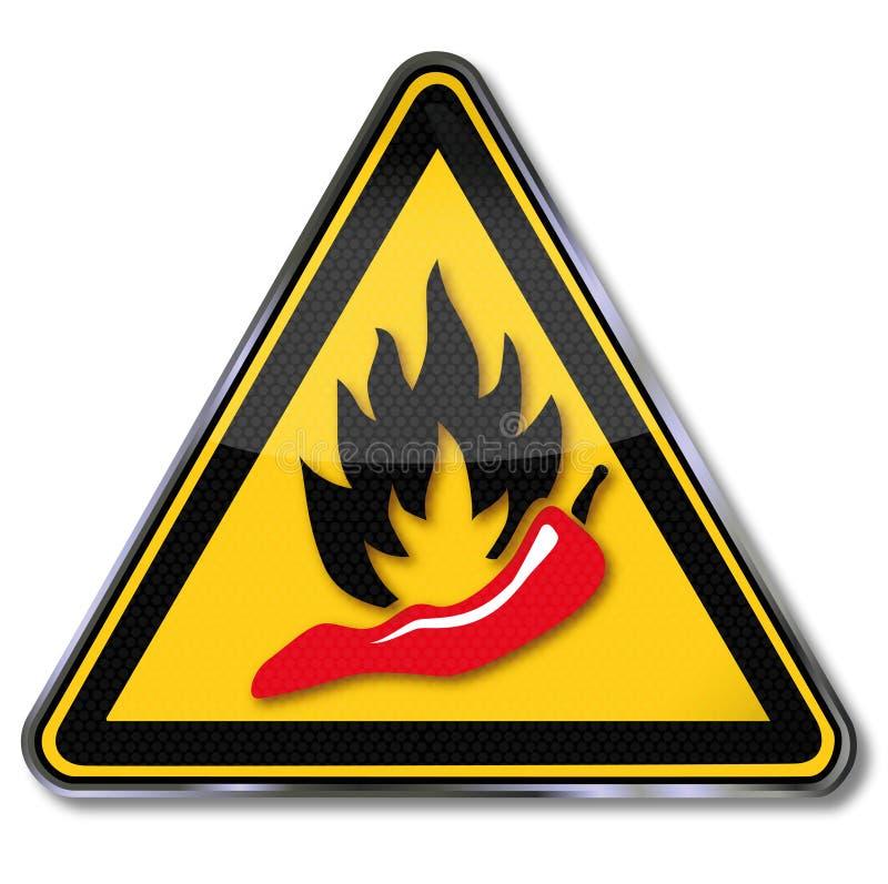 Pepperoni προειδοποίησης, καυτά και πικάντικα τρόφιμα απεικόνιση αποθεμάτων