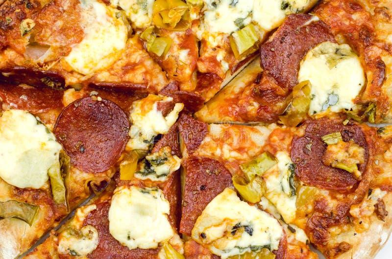 Pepperoni στενός επάνω πιτσών στοκ φωτογραφία με δικαίωμα ελεύθερης χρήσης