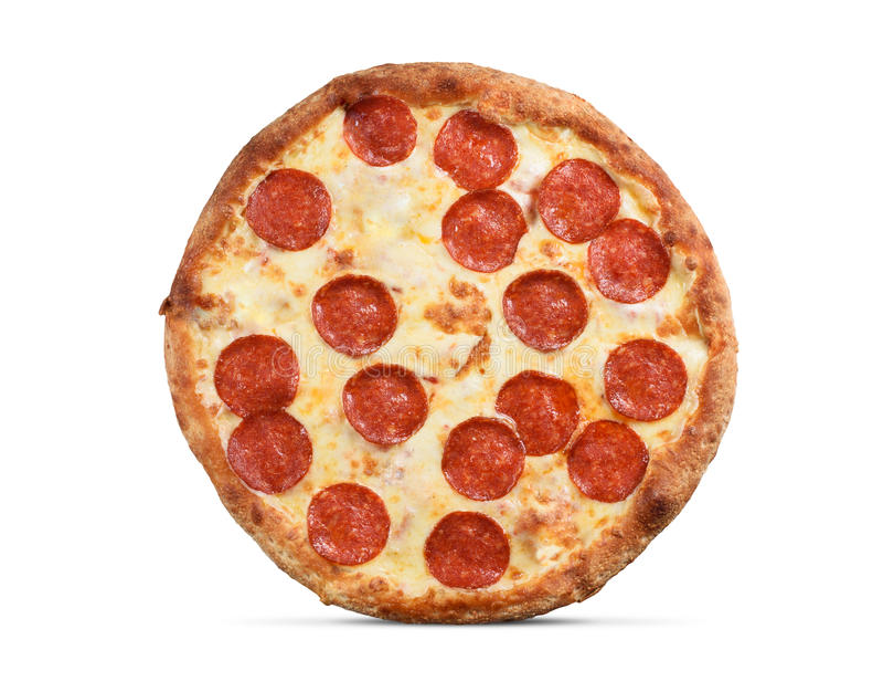 Pepperoni пиццы изолированные на белизне стоковые изображения rf