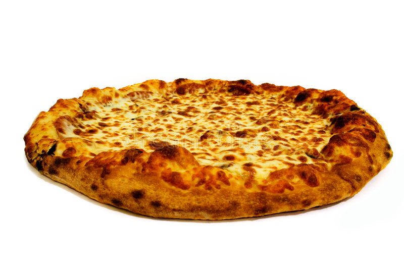 Pepperoni and cheese pizza. Isolated on white background royalty free stock photo