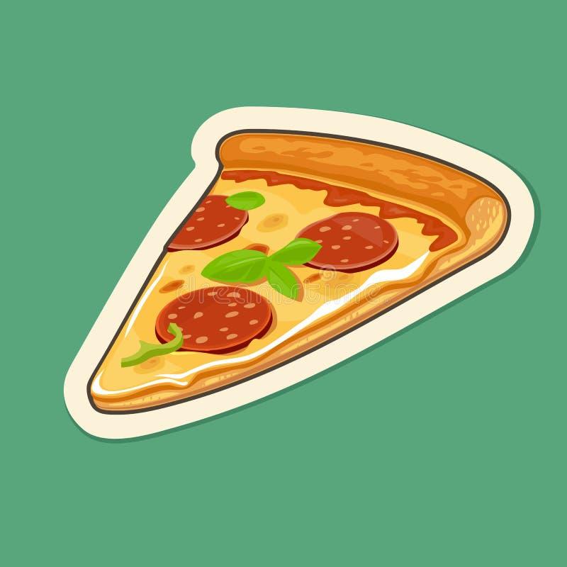 Pepperoni da pizza da fatia Ilustração lisa do vetor ilustração royalty free