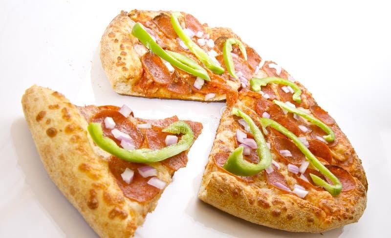 Pepperoni de luxe e pizza vegetal foto de stock royalty free
