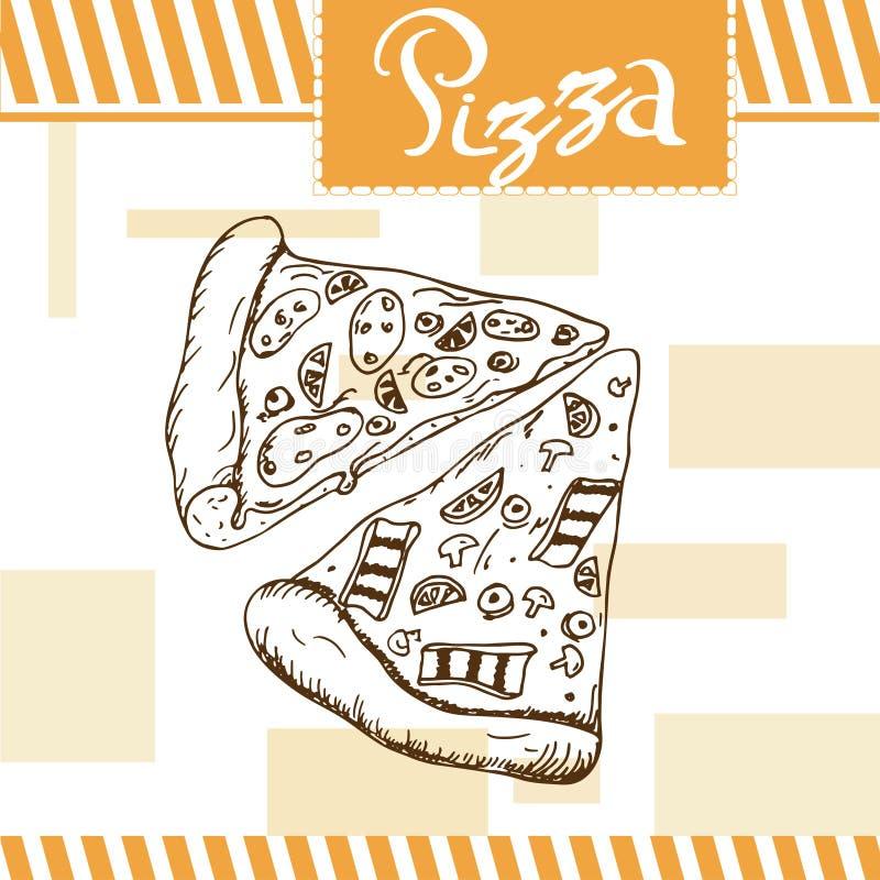 Pepperoni e pizza dos cogumelos Projeto do fast food Cartão bonito com elemento decorativo da tipografia Ícone da pizza para o ca ilustração royalty free