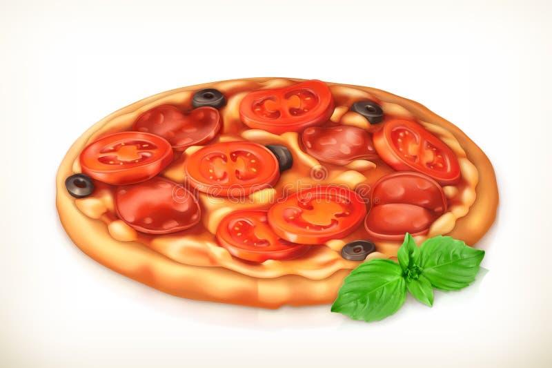 Pepperoni et pizza de champignons de couche illustration libre de droits