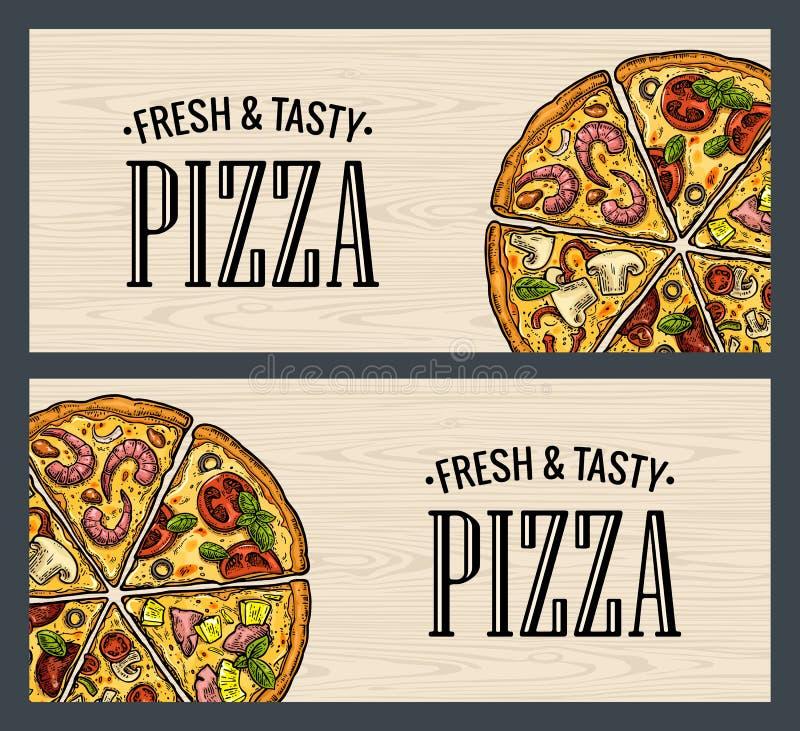 Pepperoni horizontais da pizza da fatia do cartaz, Hawaiian, Margherita, mexicano, marisco, Capricciosa ilustração royalty free