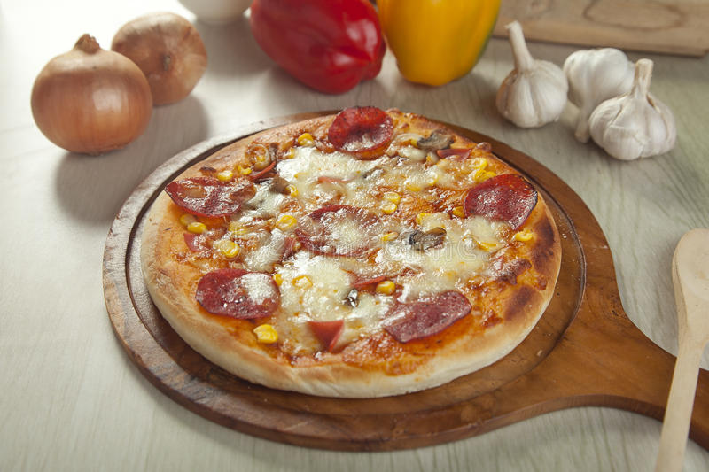 Pepperoni pizza stock photography