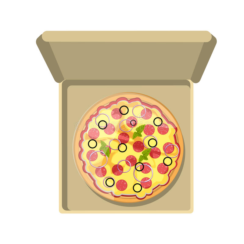 Pepperoni pizza in box. Pepperoni pizza in cardboard box. Fast food meal. Pizza with cheese, salami, onion and more. Hot and fresh snack vector illustration