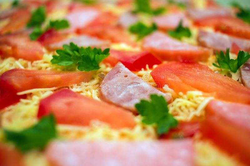 Pepperoni pizza close-up. Pepperoni raw pizza with salami and tomato stock photos
