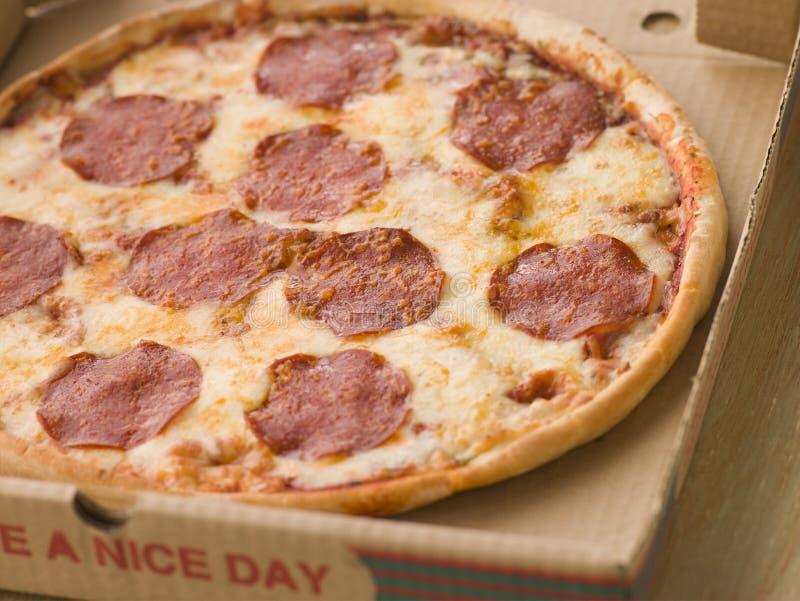 Pepperoni-Pizza in einem wegnehmenkasten lizenzfreie stockfotos