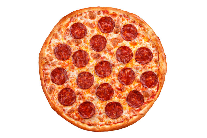 Pepperoni pizza. Italian pizza on white background. royalty free stock image