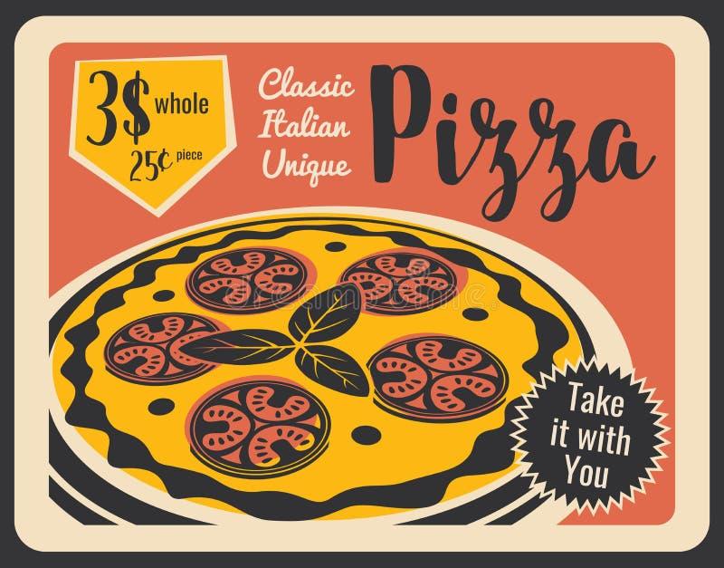 Pizzeria retro menu with pepperoni, vector royalty free illustration