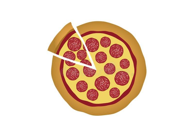 Pepperoni pizza odizolowywająca na białym tło wektorze ilustracja wektor