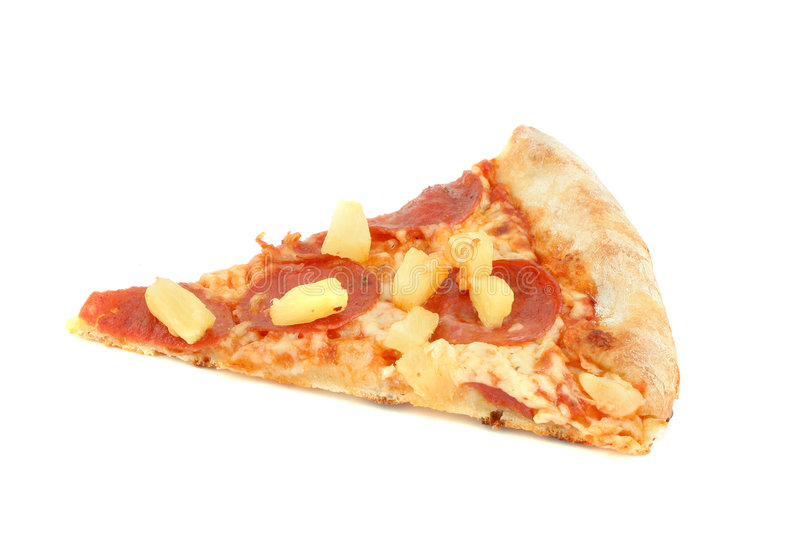 Pepperoni pizza with pineapple stock photo