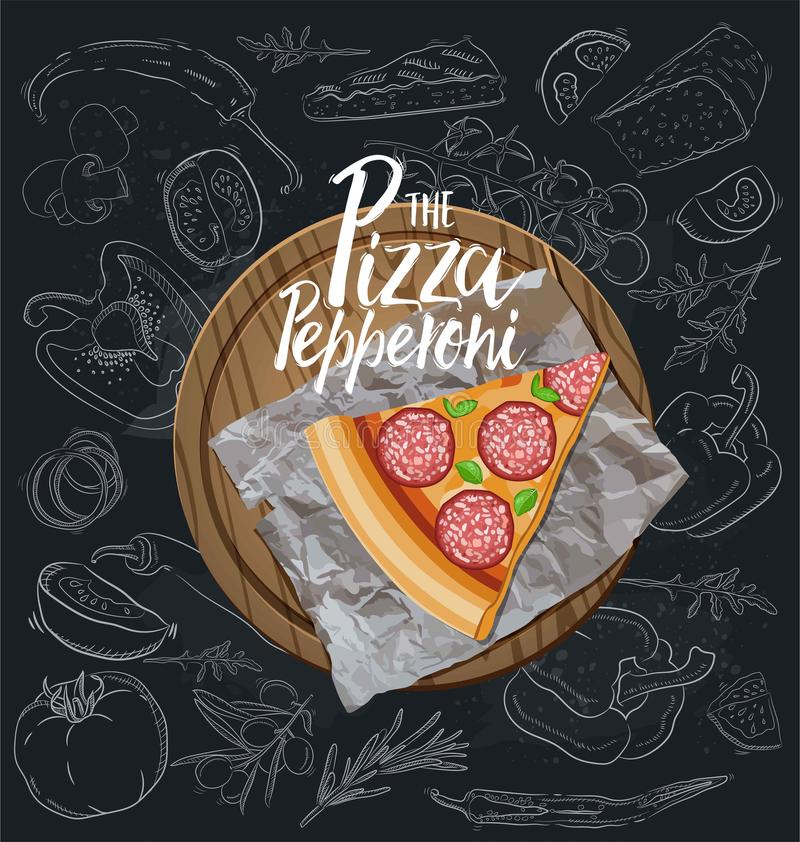 The Pepperoni Pizza slice with background. Vector graphics royalty free illustration