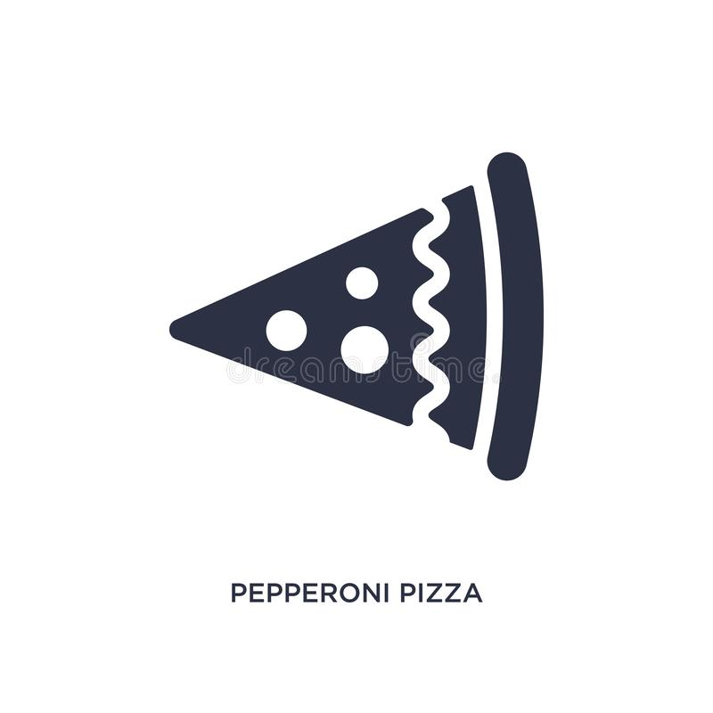 Pepperoni pizza slice icon on white background. Simple element illustration from bistro and restaurant concept. Pepperoni pizza slice icon. Simple element vector illustration