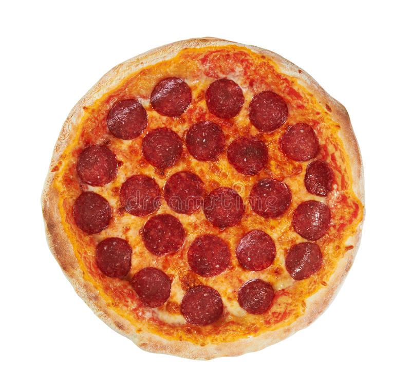 Pepperoni Pizza. From the top, isolated on white background royalty free stock photos