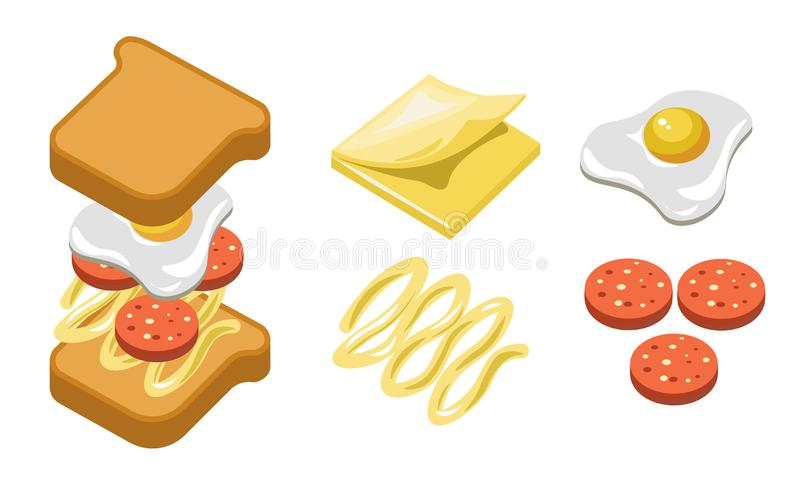 Pepperoni sandwich ingredients and separate layers shown for recipe. Pepperoni sandwich ingredients and separate layers shown in detail. Toast bread, cream stock illustration