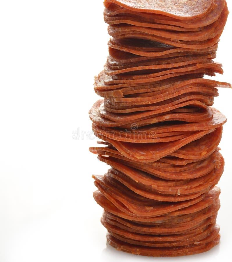 Pepperoni-Scheiben lizenzfreies stockbild