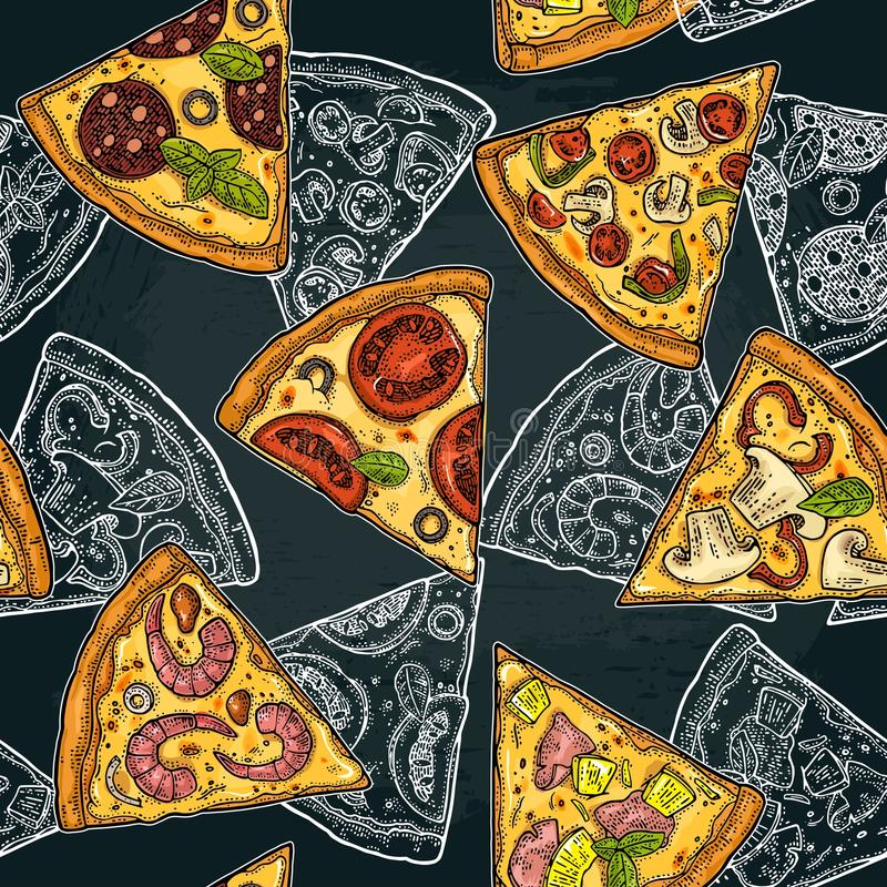 Pepperoni sem emenda da pizza da fatia do teste padrão, Hawaiian, Margherita, mexicano, marisco, Capricciosa ilustração stock