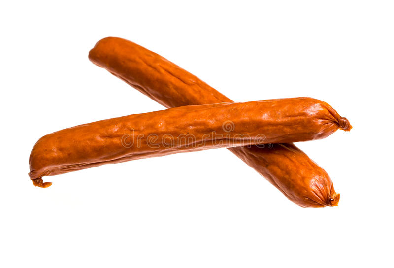 Pepperoni sticks. On isolated background royalty free stock images