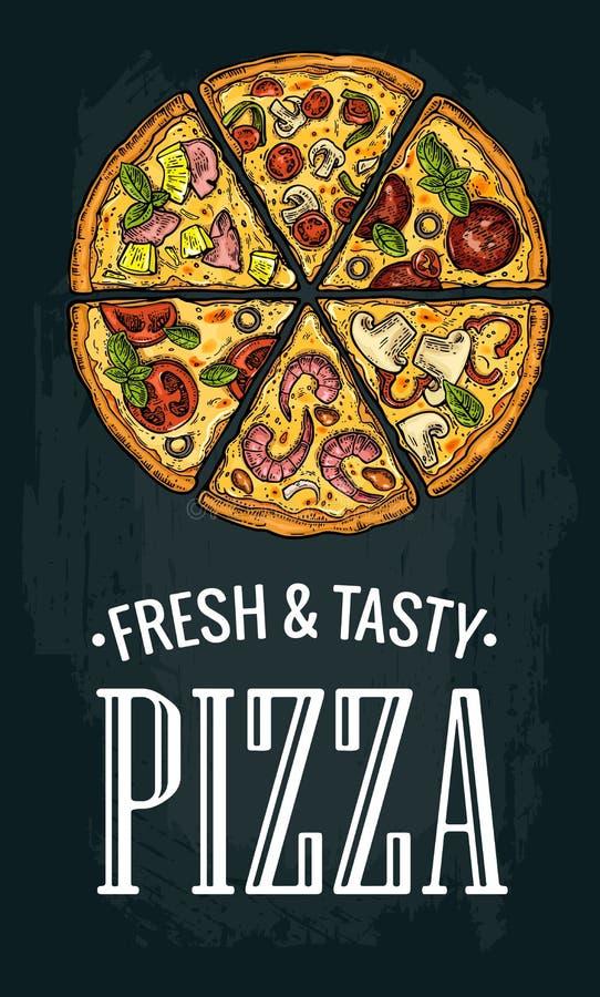 Pepperoni verticais da pizza da fatia do cartaz, Hawaiian, Margherita, mexicano, marisco, Capricciosa ilustração do vetor