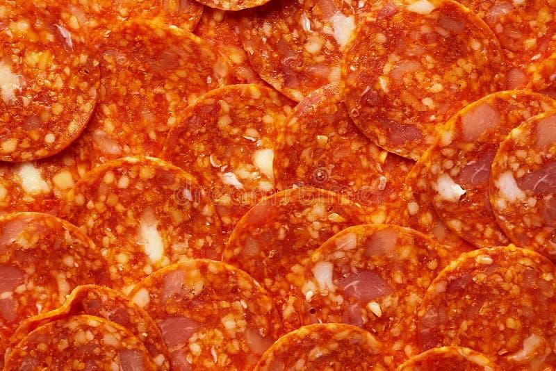 Pepperonis of Chorizo Plakkenpatroon Ingrediënten voor vleespizza royalty-vrije stock afbeeldingen