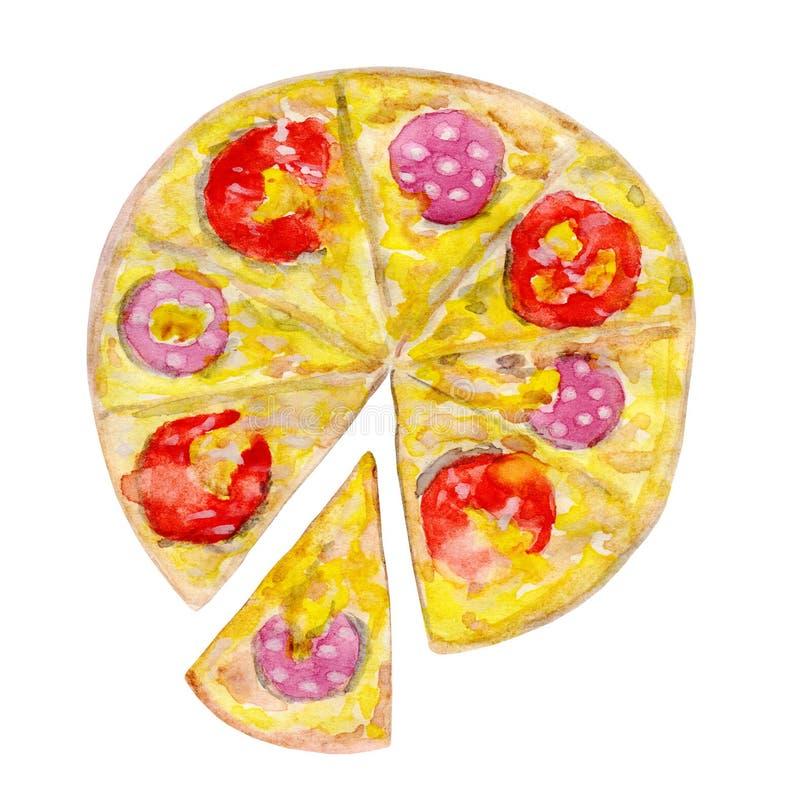 Pepperonispizza met een afgesneden plak stock afbeelding