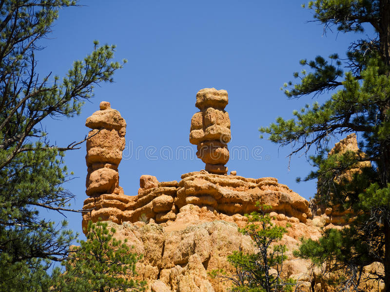 Pepperpot Rocks in Red Canyon National Park, Utah, USA. Bryce Canyon is distinctive due to its geological structures, called hoodoos, formed from wind, water stock images