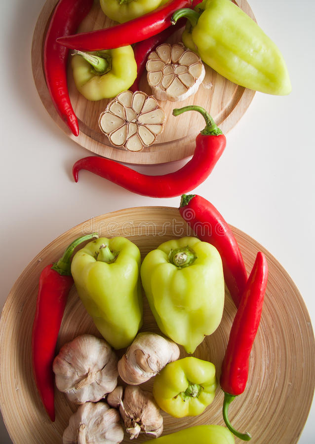 Peppers&garlic stock afbeelding
