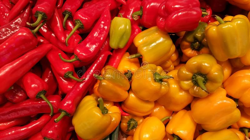 Peppers at the market stock photos