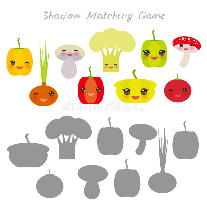 Peppers onions mushrooms squash tomato cauliflower isolated on white background, Shadow Matching Game for Preschool Children. Find. The correct shadow. Vector stock illustration