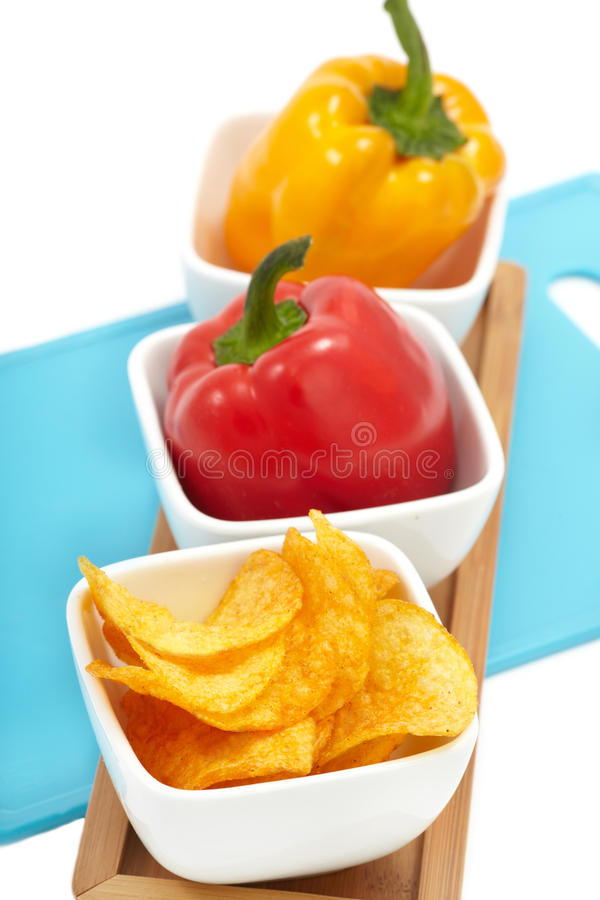 Download Peppers with Paprika Chips stock image. Image of salted - 24059167