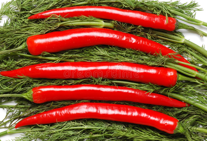 Peppers and parsley royalty free stock photography