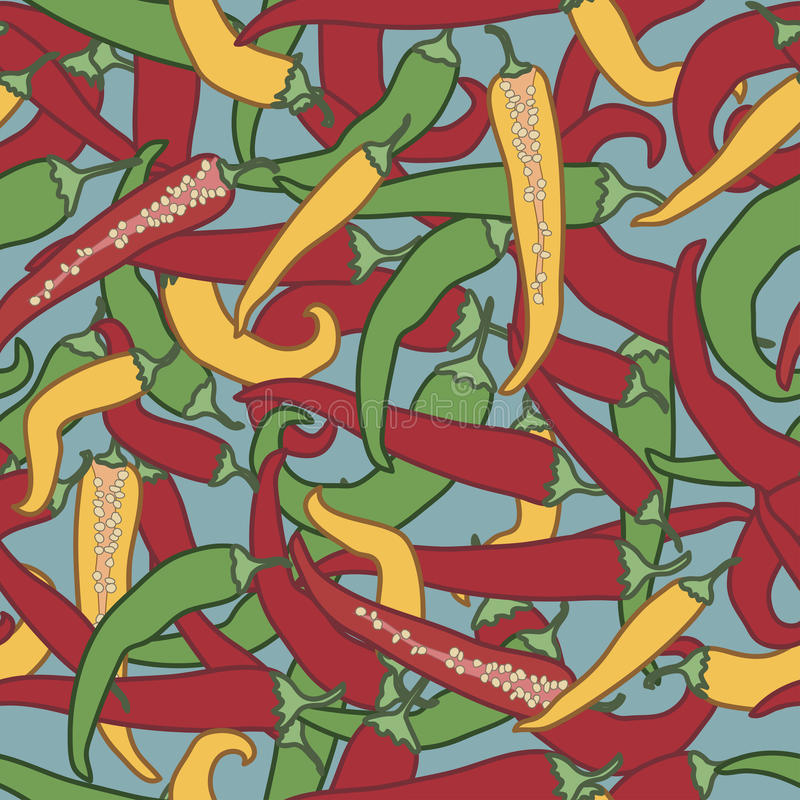 Peppers pattern on a blue background royalty free illustration