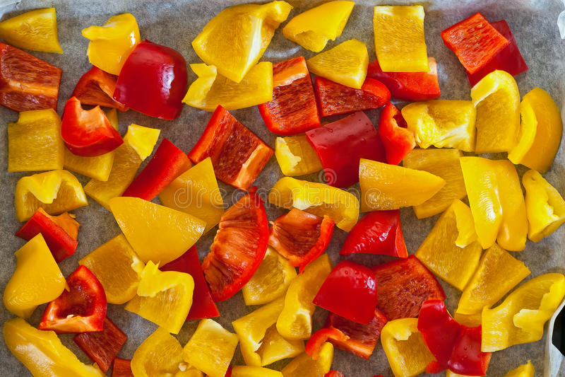 Peppers into pieces royalty free stock photo