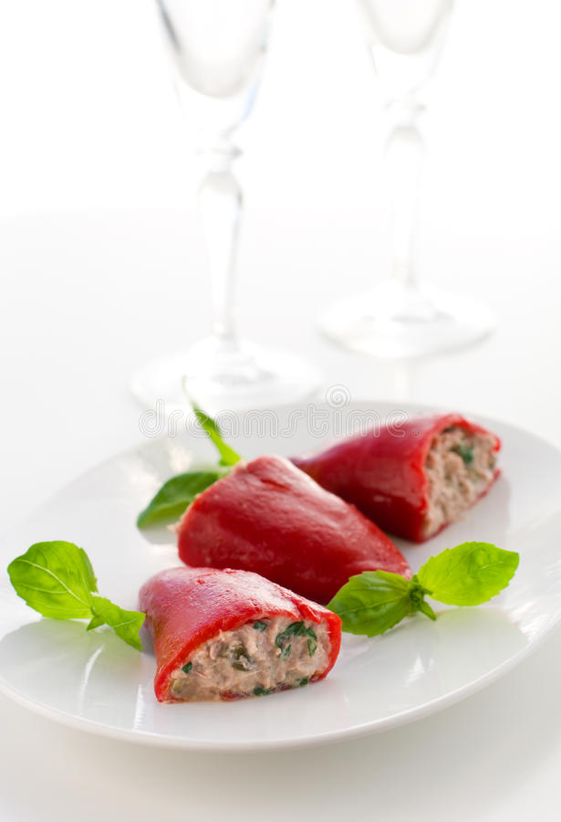 Peppers Stuffed With Tuna Stock Photos
