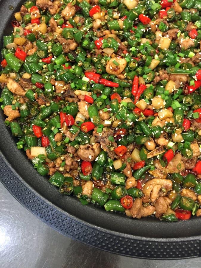 Peppra höna, kokkonst från Sichuan, Kina arkivfoto