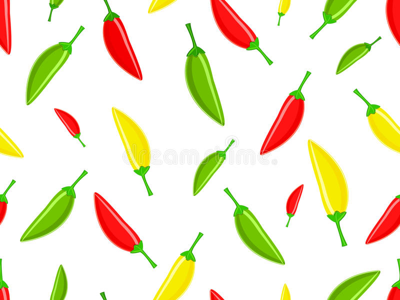pepprar den gröna modellen för chilien rött seamless royaltyfri illustrationer