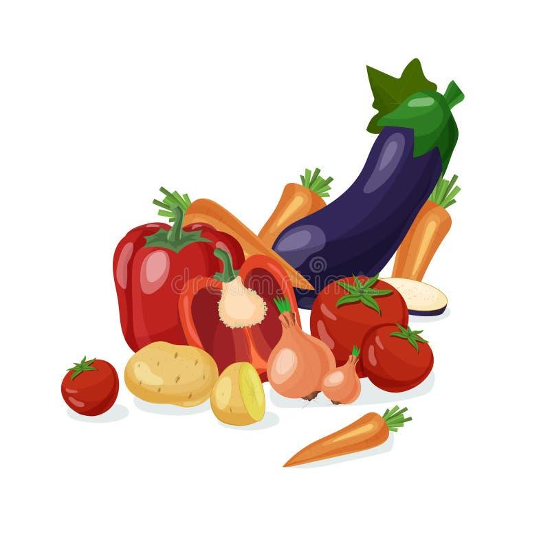 pepprar ny maize för bakgrundscabbadgemoroten grönsaker stock illustrationer