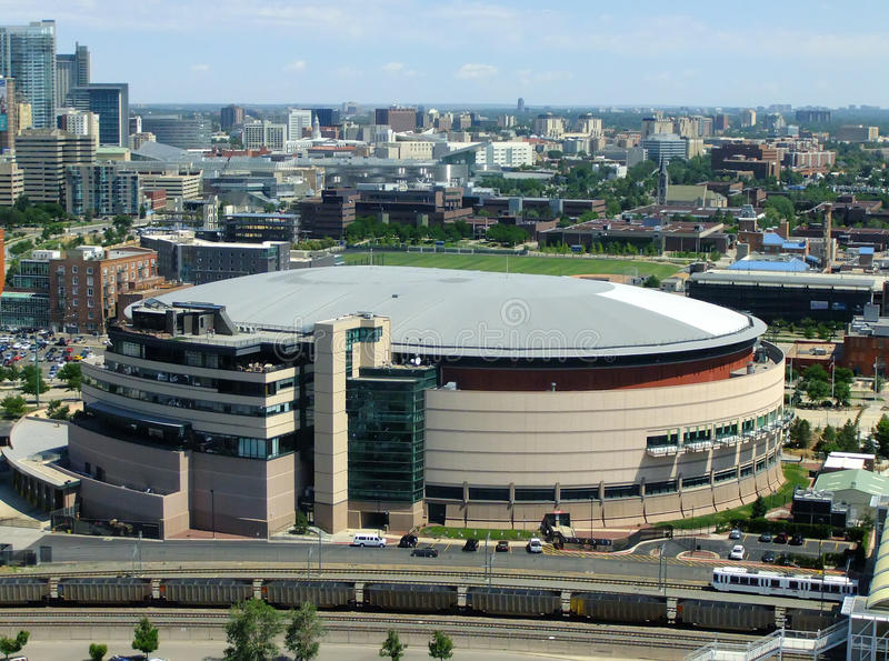 Pepsi Center Arena in Denver, Colorado. The arena is home to the Denver Nuggets of NBA, the Colorado Avalanche of NHL and the Colorado Mammoth of the National royalty free stock images
