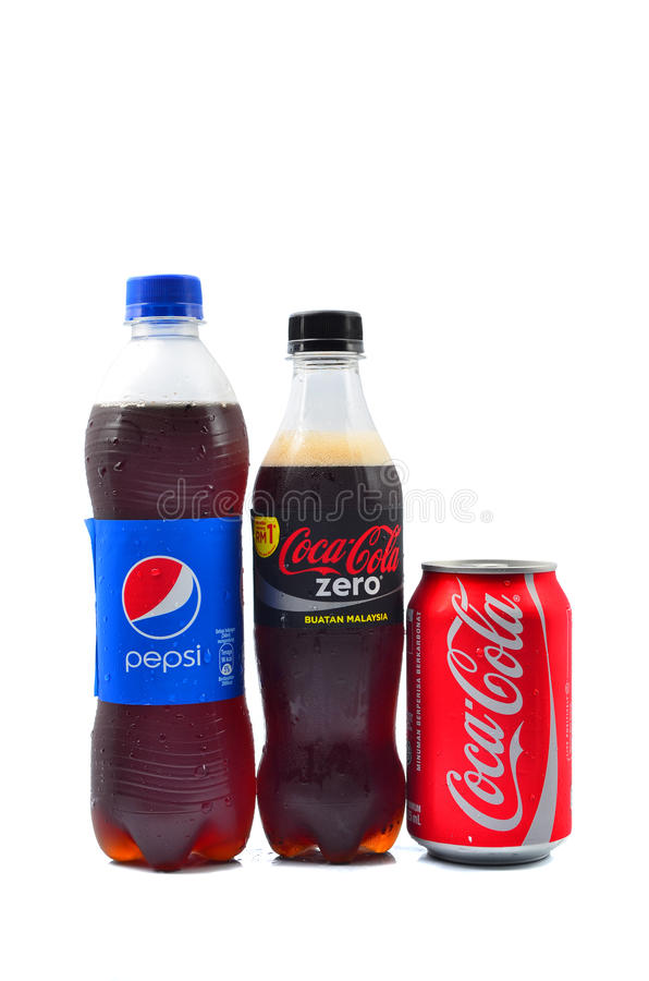 Pepsi and Coca Cola soft drinks. PAHANG, MALAYSIA - JANUARY 18, 2015: Pepsi and Coca Cola soft drinks. Since the 1980's both company has been involved in stock photos