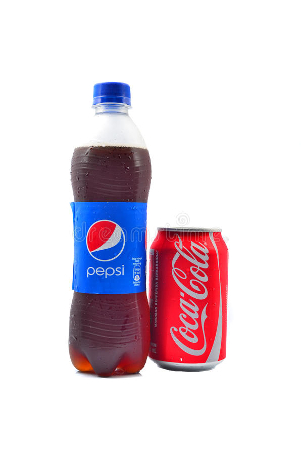 Pepsi and Coca Cola soft drinks. PAHANG, MALAYSIA - JANUARY 18, 2015: Pepsi and Coca Cola soft drinks. Since the 1980's both company has been involved in royalty free stock photo