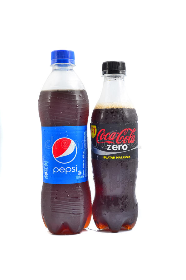 Pepsi and Coca Cola soft drinks. PAHANG, MALAYSIA - JANUARY 18, 2015: Pepsi and Coca Cola soft drinks. Since the 1980's both company has been involved in royalty free stock image